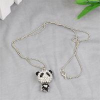 Frauen lange Panda Halskette Anhaenger P8W4