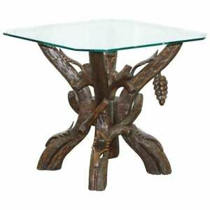 BLACK FOREST WOOD CARVED WITH LEAVED & GRAPES SIDE LAMP END WINE TABLE GLASS TOP