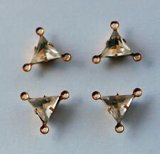VINTAGE GLASS TRIANGLE 3 HOLE CONNECTOR PENDANT BEADS • 8mm • Assorted Colors