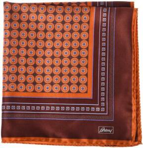 Brioni Pocket Square Handmade Silk Satin Brown Orange Geometric 03PS0112 $110