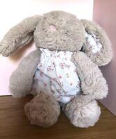 Next My Best Friend Grey Bunny Rabbit With Floral Dress Comforter Soft Plush Toy