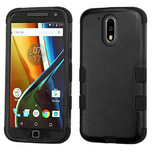 For Motorola Moto G4 Plus -HARD&SOFT RUBBER HYBRID IMPACT CASE COVER BLACK ARMOR