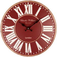 Large Round Burgundy Metal Wall Clock 40cm Home Decor