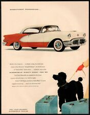 1956 OLDSMOBILE 98 Car-  Cute Poodle With Travel Bags - Dog Leash   VINTAGE AD
