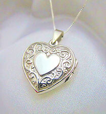 "Solid 925 Sterling Silver Decorative Heart 7/8"" Locket Box Chain Gift Box"