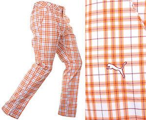 "Puma Golf Plaid Tech Golf Trousers - RRP£70 - ALL SIZES - 32"" Leg Vibrant Orange"