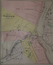 1897 Antique Map Of Gardner, Maine ( not a reproduction )