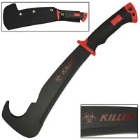 Zombie Killer Outdoor Hunting Bill Hook Rugged Landscaping Machete Knife Red