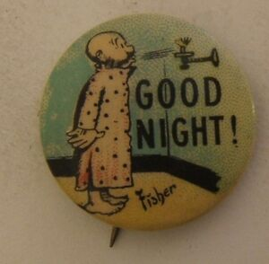Vintage Cigarette Pinback Pin Tobacco Button Good Night Fisher Hassan 84