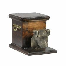 Jack Russel Terrier - wooden exclusive urn for dog with statue, Art Dog type 3