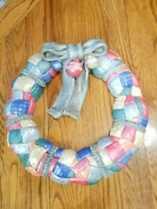 Vintage Painted Ceramic Quilted Christmas Wreath w/ Bow & Ornaments