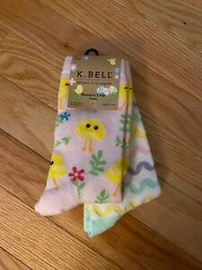 NEW K Bell  Easter Chickens / ZipZag Womens Acrylic Blend Sock 2 pairs M41