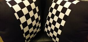 "1 pair of Black and White Check Novelty Ska Racing Stuffed Cushions 16"" X 16"""