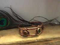 Copper and Genuine Sea Glass Cuff Bracelet