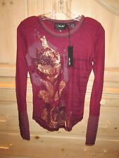 MISS ME MERLOT CRYSTAL STUD EMBELLISHED FLOWER T-SHIRT TOP WOMENS  SZ S NEW $65