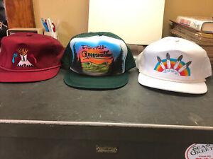 Trucker Hats. Lot of 3. Cherokee Reservation. Indain Feathers. TeePee. Snapbacks
