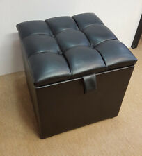 Ottoman Pouffe Storage Single Seat Foot Stool Toy Box Faux Leather 46x46cm Black