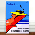 "Vintage Travel Poster Art ~ CANVAS PRINT 8x10"" ~ Cruise Ship Chargeurs Reunis"