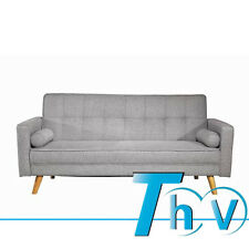 Luxury Fabric 3 Seater Sofa Bed Inc 2 Cushions & Light Grey Colour