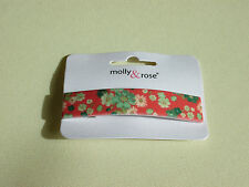 NEW 8cm rectangle plastic red floral print barrette hair clip womens fashion
