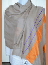 Handwoven Pashmina Cashmere Wool Shawl in Beige Tan Color from India!