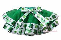 St Patrick Day Green Hat Clover Trimmed Tutu Dance Dress Baby Girls Skirt NB-8Y