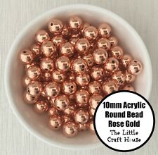 50PC 10mm Acrylic Beads Round Rose Gold Spacer Bead Shiny Plastic Bubblegum DIY