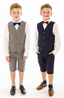 Boys Suits, 4 Piece Short Set Suit, Grey Navy Suit Wedding Page boy Baby Boys