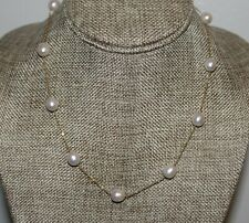 ESTATE 14K STATION NECKLACE WITH NINE SOUTH SEA PEARLS 17IN LONG 8.8 GRAMS