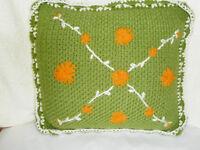 Vintage Throw Pillow Crocheted Green Orange Flowers White Border