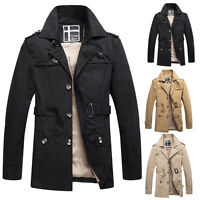 Mens Trench Parka Coat Outwear Long Jacket Casual Formal WINTER Peacoat Overcoat
