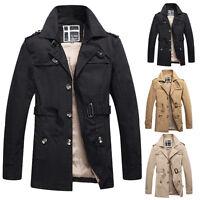 Herren WINTER Trenchcoat Outwearlinie Mantel Lang Militär Jacke Größe XS S M L