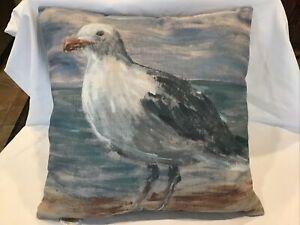 "Pottery Barn Blue Pillow Seagull Design 18""X 18"""