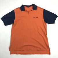 Vintage 90s Polo Sport Shirt Mens Large Sz L Blue Orange Color Block Spell Out