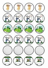 24 icing cake toppers decorations Golf Clubs Ball Green Caddie