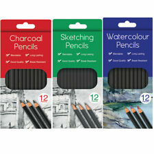 12 Charcoal Sketching Water Colour Pencils Drawing Set School Kids Art Colour...