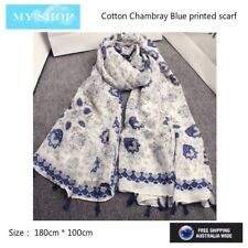 Bohemian Style, Cotton/Linen scarf Large Shawl, Wrap --180cm *100cm -Blue