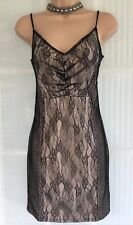 NEW MISS SELFRIDGE 12 black lace body con LBD camisole party mini dress
