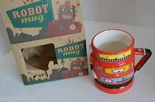 NEW Robot Mug Coffee Tea Cup Retro Novelty Geek Funky Boxed Gift Ceramic Red