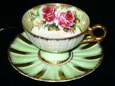 Royal Sealy IRIDESCENT PISTACHIO LIME & PINK ROSES HPT Footed Tea Cup and Saucer
