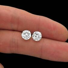 4.Ct Four Prong Round D/VVS1 Solitaire Diamond Stud Earrings 14K White Gold Over