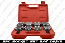 "8 PC 3/4"" Drive Jumbo Socket Set Big Rig HD Chrome Plated Truck Lug Nut Removal"