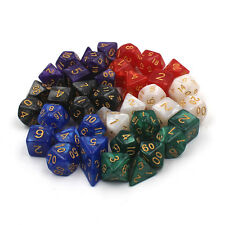 Pearl Multi sided dice set of 7 D4 D6 D8 D10 D12 D20 Dungeons D&D RPG Warhammer