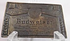Vintage Budweiser Brass Belt Buckle A-168 Patina