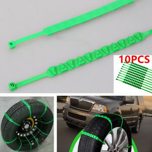 10PCS Nylon SUV Car Tire Snow Chain Emergency Wheel Zip Tie Belt Strap Reusable