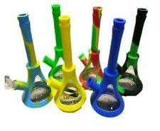 """10"""" NEW Silicone & Glass TOBACCO Hookah Water Pipe Bong- ASSORTED COLORS SHIPPED"""