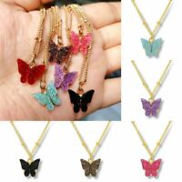 Fashion Butterfly Acrylic Sequins Pendant Necklace Clavicle Women Jewelry Gifts