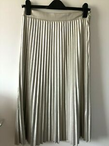 Love & Jeans London Pale Gold Faux Leather Pleated Midi Maxi Skirt Small UK 10