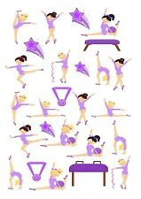 26 icing cupcake cake toppers decorations edible Gymnastic dancers images purple