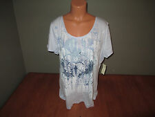 New Womens Size XL Studio Works Blue Print Scoop Neck S/S Top Shirt
